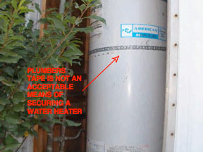 Home Inspection Thousand Oaks - Faulty Water Heater Strap